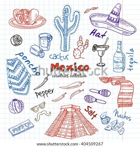 Hand drawn doodle Mexico symbols set. Sketchy Icons set. Travel  Collection. Isolated vector illustration.