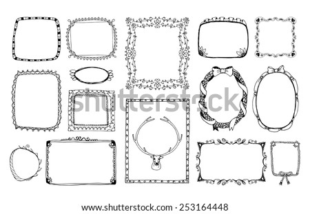 Hand-drawn doodle monochrome frame for the portrait, album ornament on Valentines Day. Vector illustration - stock vector