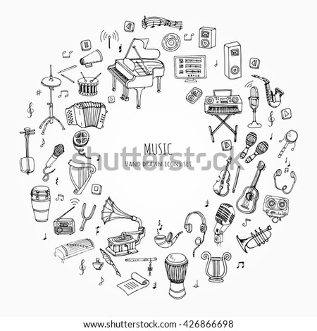 Hand drawn doodle Music set Vector illustration musical instrument and symbols icons collections Cartoon sound concept elements Music notes Piano Guitar Violin Trumpet Drum Gramophone Saxophone Harp - stock vector