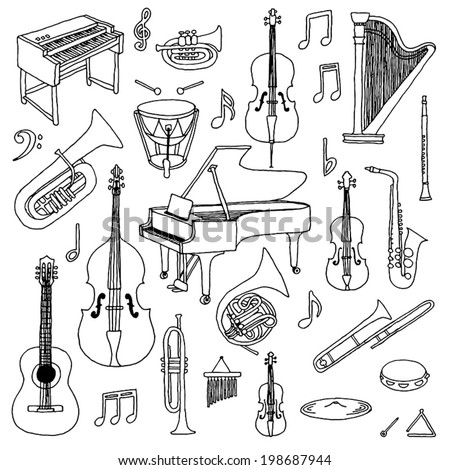 Hand drawn doodle musical instruments. Classical orchestra. Vector illustration.   - stock vector