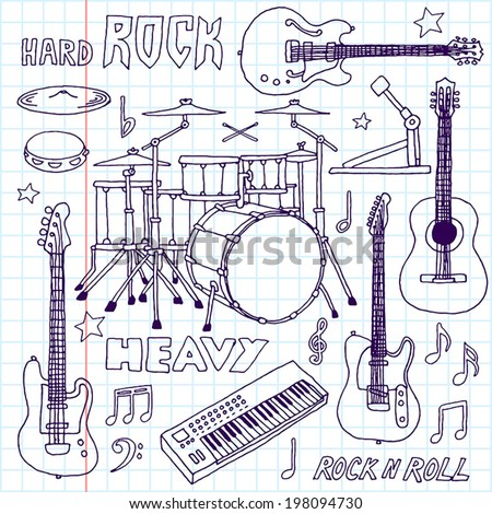 Hand drawn doodle musical instruments. Rock band set. Vector illustration. School notebook. - stock vector