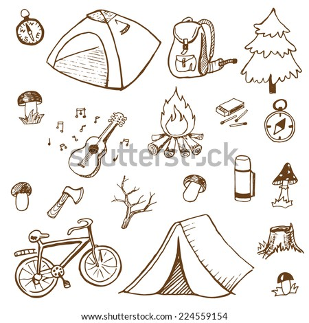 Hand-drawn doodle on the camping theme with tourist tents isolated on white background.