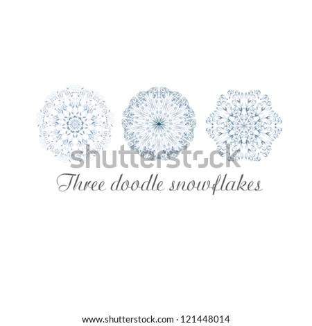 Hand drawn doodle ornamental snowflakes. - stock vector