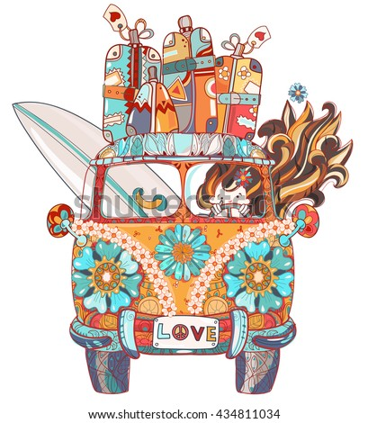Hand drawn doodle outline retro bus travel decorated with ornaments front view.Vector zen art illustration.Floral ornament.Sketch for tattoo or printBoho style. - stock vector