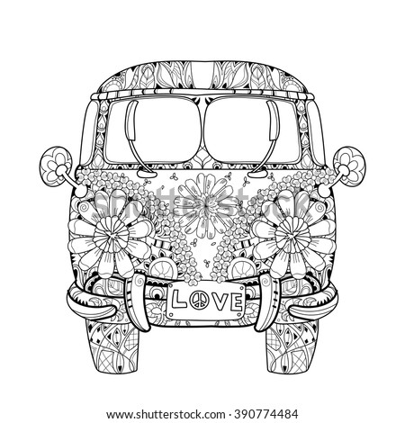 hippie van coloring pages | Hippie Van Pages Coloring Pages