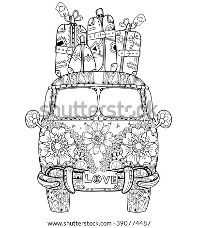 Hand Drawn Doodle Outline Retro Bus Travel Decorated With Ornaments Front ViewVector Zentangle Illustration