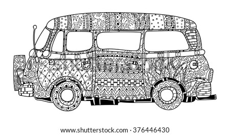 Hand drawn doodle outline retro bus travel decorated with ornaments.Vector zentangle illustration.Floral ornament.Sketch for tattoo or coloring pages.Boho style. - stock vector