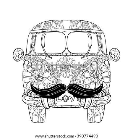 Hand drawn doodle outline retro bus with moustache travel decorated with ornaments front view. .Vector zentangle illustration.Floral ornament.Sketch for tattoo or coloring pages.Boho style. - stock vector