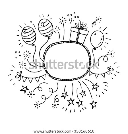 Hand drawn doodle party frame - stock vector
