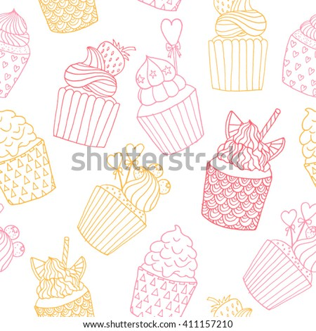 Hand drawn doodle pink and yellow cupcakes on a white background. Vector seamless pattern