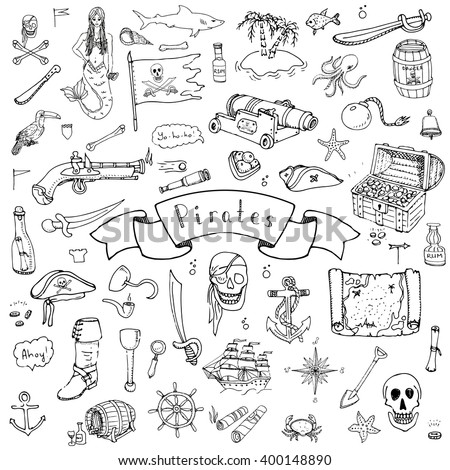 Hand drawn doodle Pirate icons set Vector illustration piracy symbols collection Cartoon concept elements Hat Treasure chest Black flag Skull Crossbones Compass Costume Anchor Spyglass Mermaid Octopus - stock vector