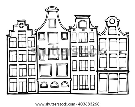 Hand drawn doodle Scandinavian houses in black and white.  Dutch home. Stylized Netherlandish house. Zentangle. Vector Illustration. - stock vector