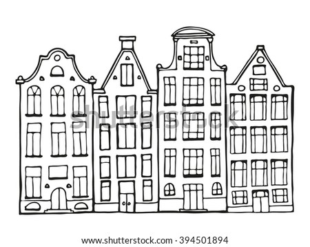 Hand drawn doodle scandinavian houses in black and white.  Netherlands house. Adult coloring page. Zentangle coloring book. Vector Illustration. - stock vector
