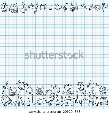hand drawn doodle school icons border at the bottom of page, on squared paper background, blue colors