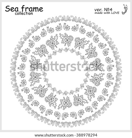 Hand drawn doodle sea frames collection. Decorative nature vector set of elements for design: seaweed, coral, leaf, fish, shell, snail. Black and white. Illustration of simple coloring mandala  - stock vector