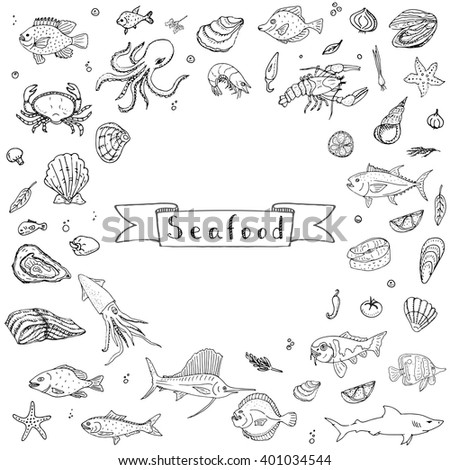 Hand drawn doodle Seafood icons set Vector illustration food symbols collection Cartoon fish Crab Lobster Oyster Shrimp Prawn Shellfish Shrimp on white background for your menu or restaurant design - stock vector
