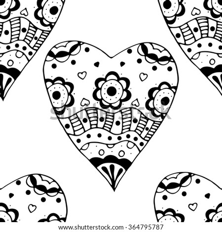 Hand drawn doodle Seamless black and white Sketchy Doodle Heart Swirls Vector Illustration background.