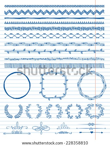 Hand-Drawn Doodle Seamless Borders and Design Elements. Decorative Flourish Frames, Brackets. On Paper Texture. Vector Illustration. Pattern Brushes - stock vector