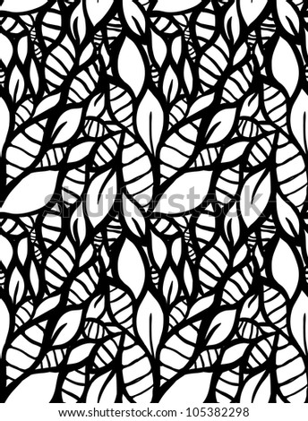 Hand-drawn doodle seamless leaf pattern. - stock vector