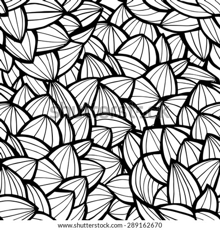 Hand drawn doodle seamless pattern or texture. Black and white wave pattern. Can be used for wallpaper, pattern fills, web page background, surface textures. - stock vector