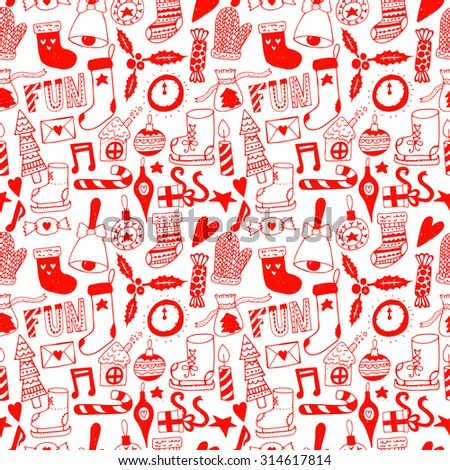 Hand drawn doodle seamless pattern. Unique vector new year pattern for your scrapbooking projects.  Pattern for fabric, wallpaper, gift wrapping. Christmas text seamless pattern.