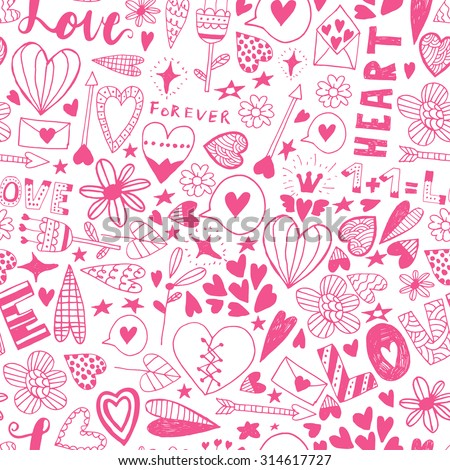 Hand drawn doodle seamless pattern.Unique vector saint valentine  pattern for your scrapbooking projects.Pattern for fabric, wallpaper, gift wrapping.Pattern for wedding invitations,special occasions.