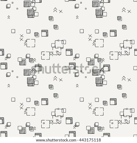 Hand drawn doodle seamless pattern. Vector geometric endless ornament.