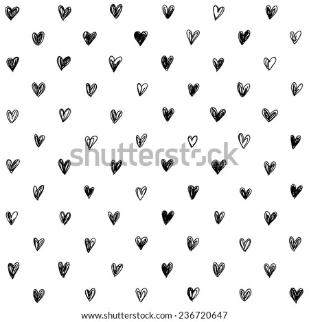hand-drawn doodle seamless pattern with hearts