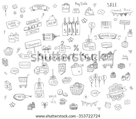 Hand drawn doodle Seasonal Sale Concept set Vector illustration Sketchy Sale icons Special offer elements Tags Clearance Shopping Ribbons Cart, Delivery truck Discount Save up to icons - stock vector
