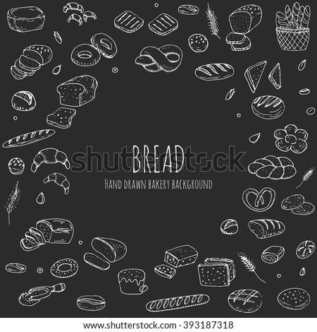Hand drawn doodle set of cartoon food: rye, ciabatta, whole grain, sliced bread, bagel, french baguette, croissant Vector illustration Sketchy flour products elements collection Wheat Bakery concept - stock vector