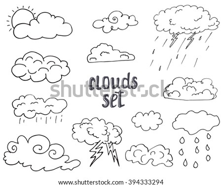 Hand drawn Doodle set of different Clouds, sketch Collection  vector illustration isolated on white. - stock vector