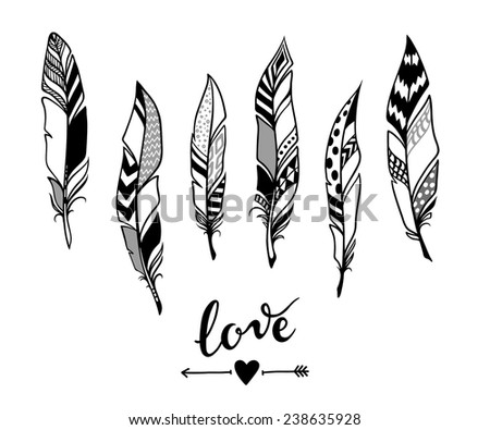 hand-drawn doodle set of feathers  - stock vector