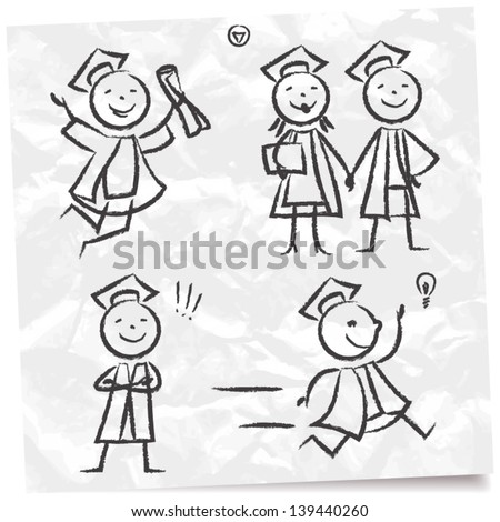 Hand drawn doodle set of graduates - stock vector