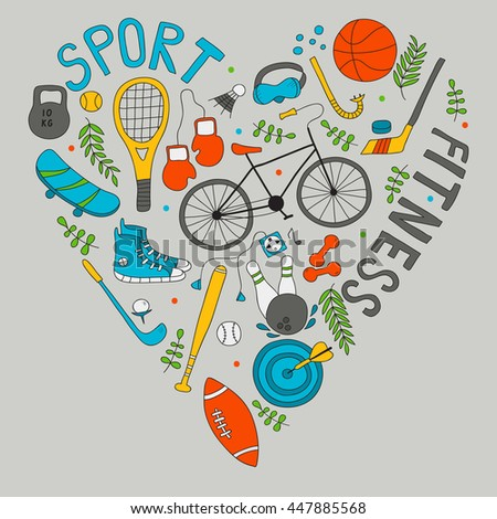 Hand-drawn doodle set of hobbies and sport things. drawn in the shape of a heart - stock vector