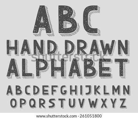 Hand drawn doodle sketch abc alphabet letters, vector illustration - stock vector