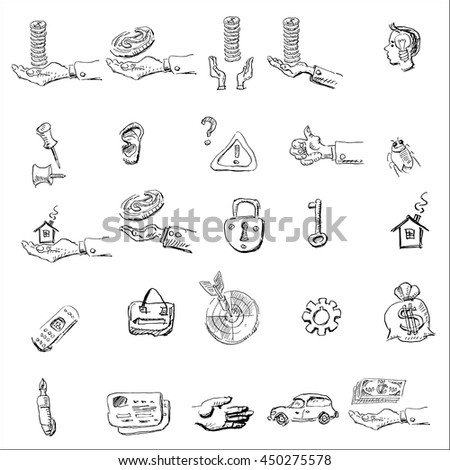 hand drawn doodle sketch business icon set with  darts, money bag, car, credit card and selling real estate house symbol