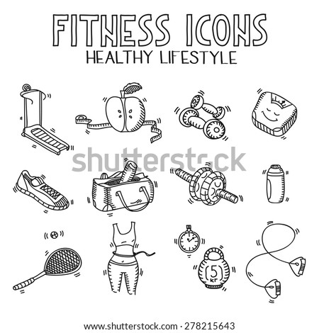 Hand drawn doodle sketch icons set fitness and sport concept healthy nutrition lifestyle, diet.