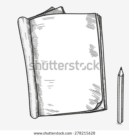 Hand drawn doodle sketch open notebook, clear page, template for notes memo notice comic book scrapbook sketchbook textbook with pencil. - stock vector