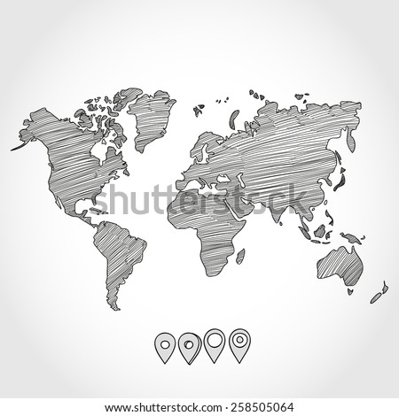 Hand drawn doodle sketch political world map and geo tag pin pointers marker vector illustration.