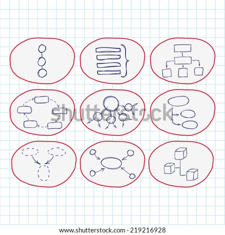 Hand drawn doodle sketch. Set of icons. mind map blank flow chart space for text. Concept business blog internet seo programming marketing web project - stock vector