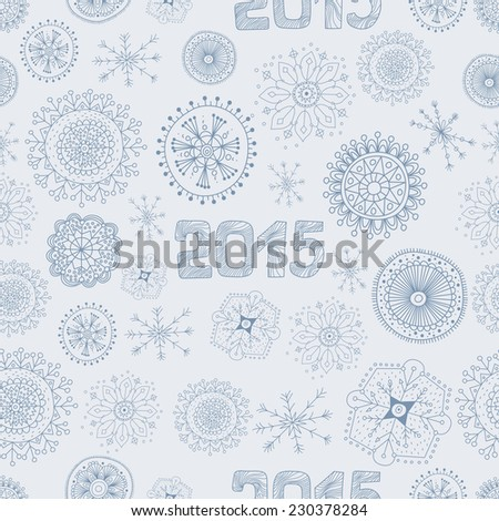 Hand Drawn Doodle Snowflakes Pattern. 2015 New Year - stock vector