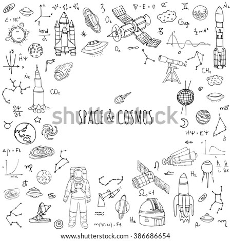 Hand drawn doodle Space and Cosmos set Vector illustration Universe icons Space concept elements Rocket Space ship symbols collection Solar system Planets Galaxy Milky Way Astronaut Tech freehand icon - stock vector