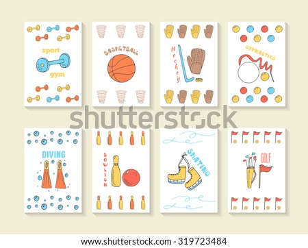 Hand drawn doodle sport games cards, brochures, covers including gymnastics, bowling, basketball, golf, hockey, skating, diving - stock vector