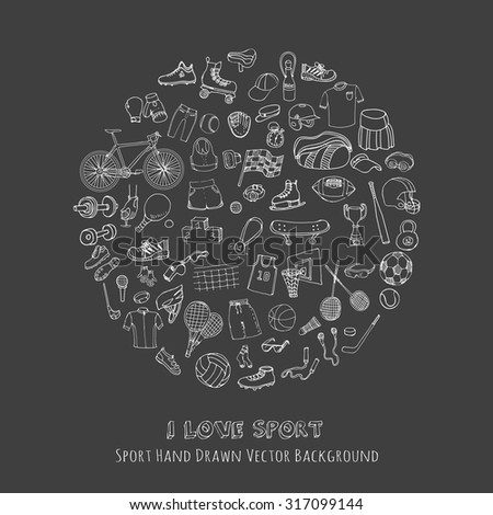 Hand drawn doodle sport set. Vector sketchy sport related icons, tennis, golf, baseball, basketball, football, soccer, volleyball, rugby, hockey, fitness, boxing, running, bicycle - stock vector