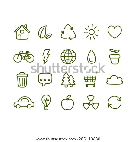Hand drawn doodle style ecology themed icons isolated on white background. - stock vector