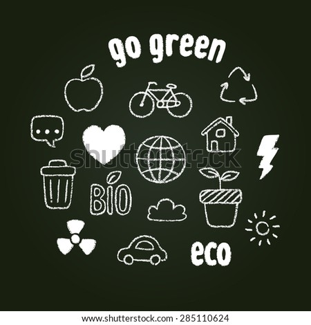 Hand drawn doodle style ecology themed symbols in chalk on blackboard. - stock vector
