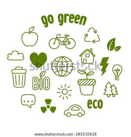Hand drawn doodle style ecology themed symbols isolated on white background. - stock vector