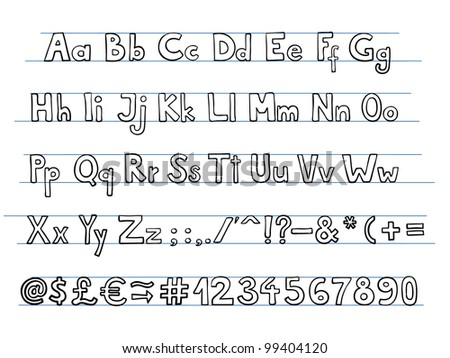 Hand drawn doodle style font. - stock vector