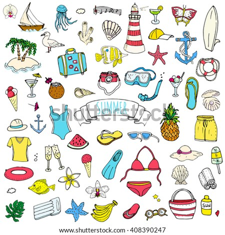 Hand drawn doodle summer icons set. Vector illustration Sketchy holiday elements collection Isolated vacation objects Cartoon beach journey symbols Summertime traveling background Tropical island