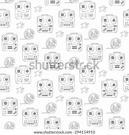 Hand drawn doodle tape recorder seamless pattern. Vector illustration. - stock vector